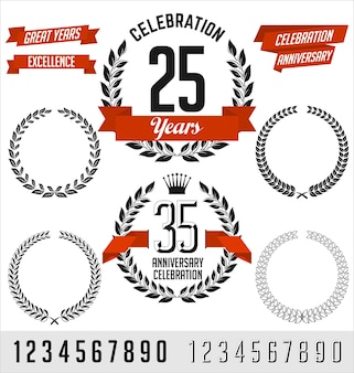 Set of anniversary elements. black with red ribbon.