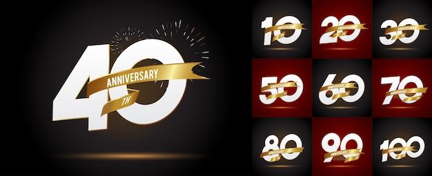 Set of anniversary emblems , anniversary template