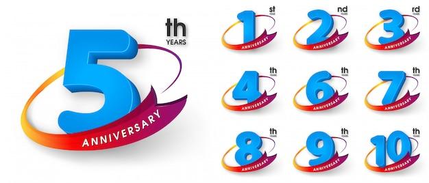 Set of anniversary emblems