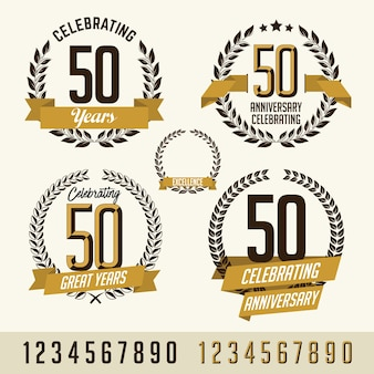 Set of anniversary gold  elements.