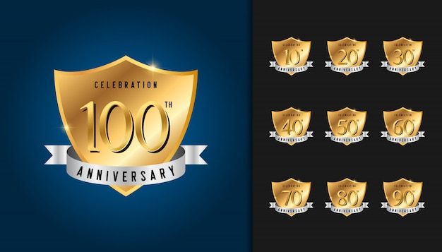 Set of anniversary golden badges.