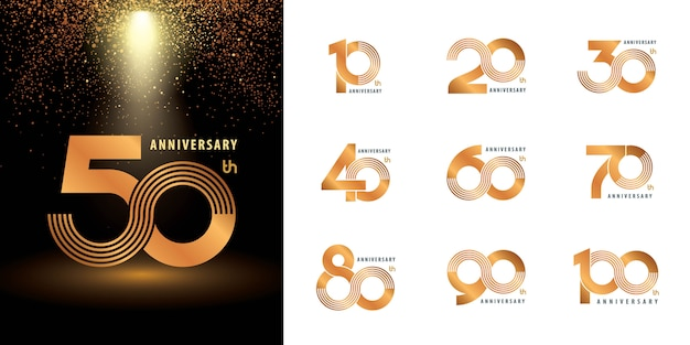Set of anniversary label set
