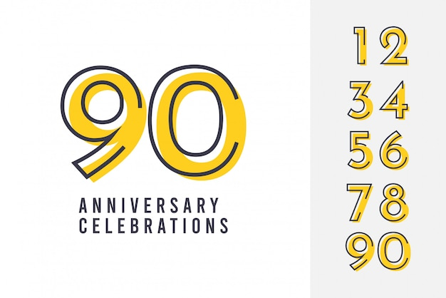 Set anniversary logo design template. Premium Vector
