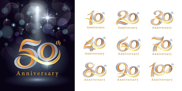 Set of anniversary logotype design, elegant classic logo, vintage and retro serif number letters