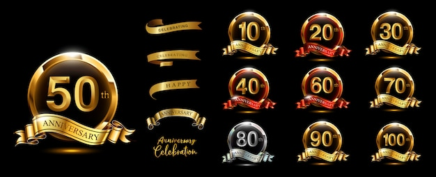 Set of anniversary logotype and gold ribbon. golden anniversary celebration emblem design