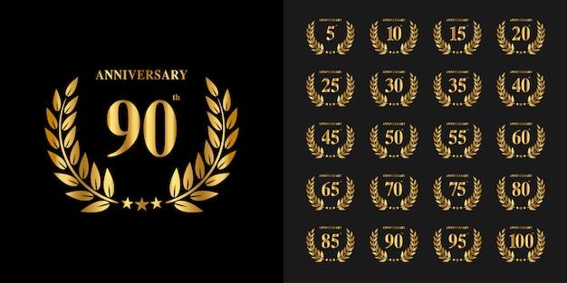 Set of anniversary logotype. golden anniversary celebration emblem design.