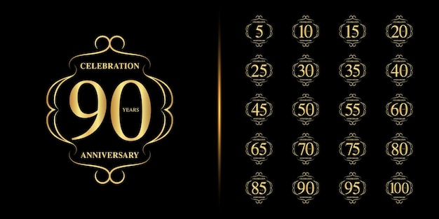 Set of anniversary logotype. golden anniversary celebration .