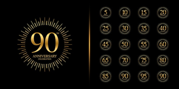 Set of anniversary logotype. golden anniversary celebration .