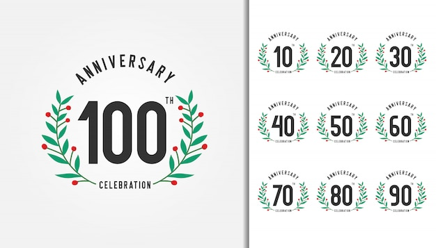 Set of anniversary logotype with laurel wreath.