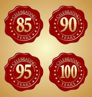 Set of anniversary red wax seal Premium Vector