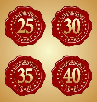 Set of anniversary red wax seal