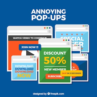 Set of annoying pop ups with flat design