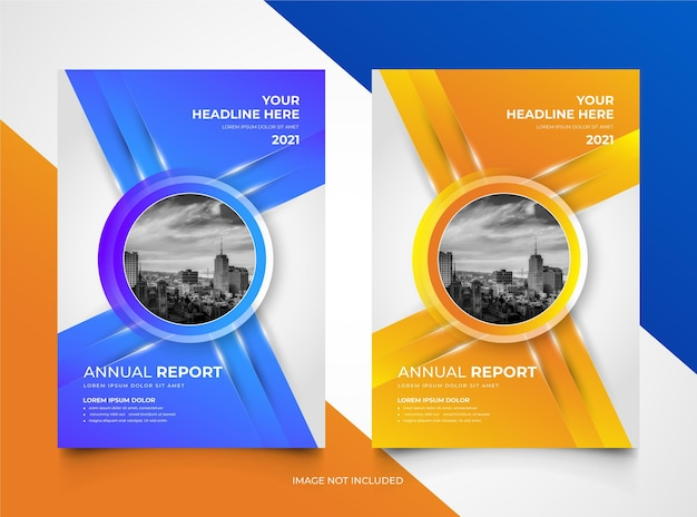 Set of annual report business cover template