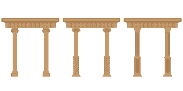 Set of antique arches. architectural objects in flat style isolated on white background.