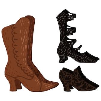 흰색 바탕에 골동품 부츠를 설정합니다. 낙서 스타일 벡터 일러스트 레이 션에 빈티지 신발 어두운 색상입니다.