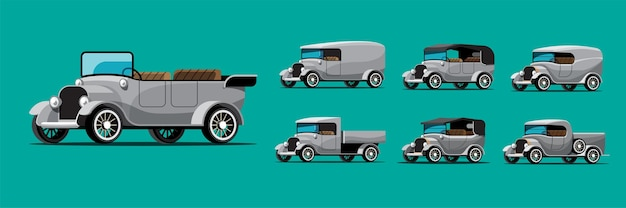 Set of antique car in retro style on green