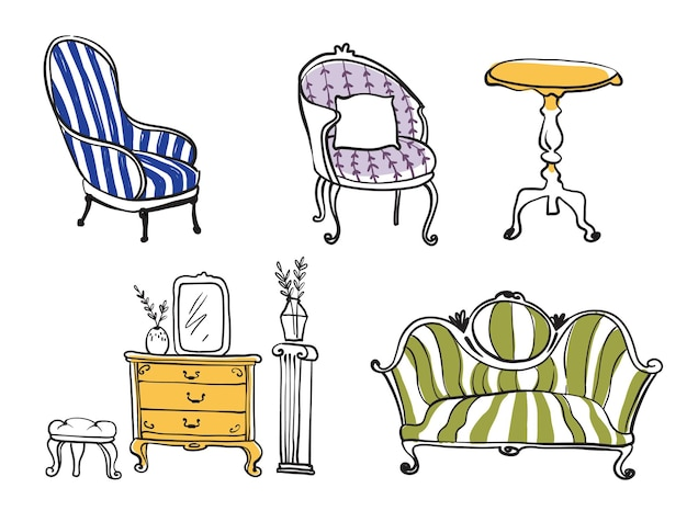 Set of antique furniture objects, line drawing vector art