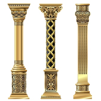 Set of antique gold carved decorative columns in oriental style. vector templates