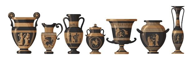 Set of antique greek amphoras, vases with patterns, decorations and life scenes. ancient decorative pots isolated on white background, old clay jugs, ceramic pottery illustration.