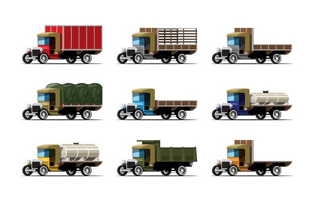 Set di antichi camion e cisterna in stile retrò su bianco