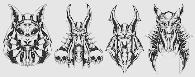 Set of anubis head