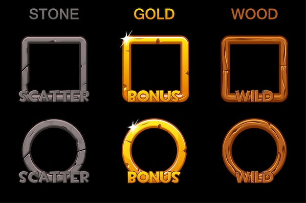 Установите значки рамок приложения для игровых слотов. квадратные и круглые золотые, деревянные каменные рамы.