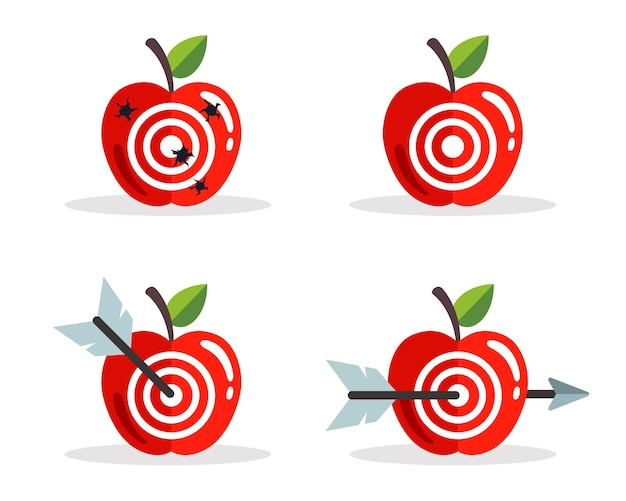 Set of apples with a target. shoot right at the target. flat vector illustration.