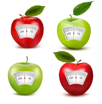 Set of apples with a weight scale. diet concept.
