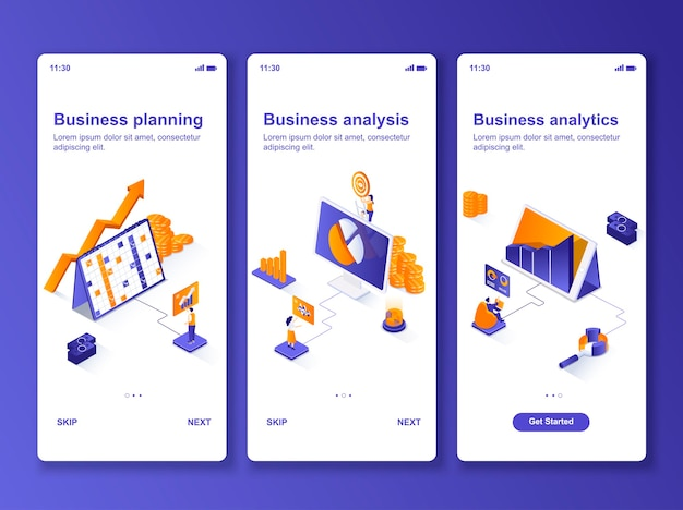 Set of applications business analytics isometric