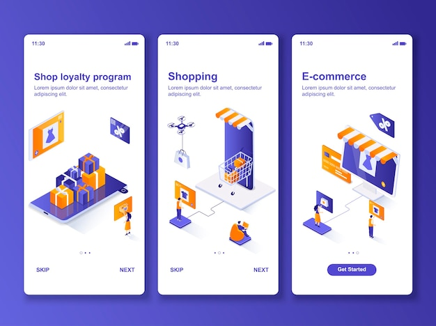 Set of applications online shopping isometric