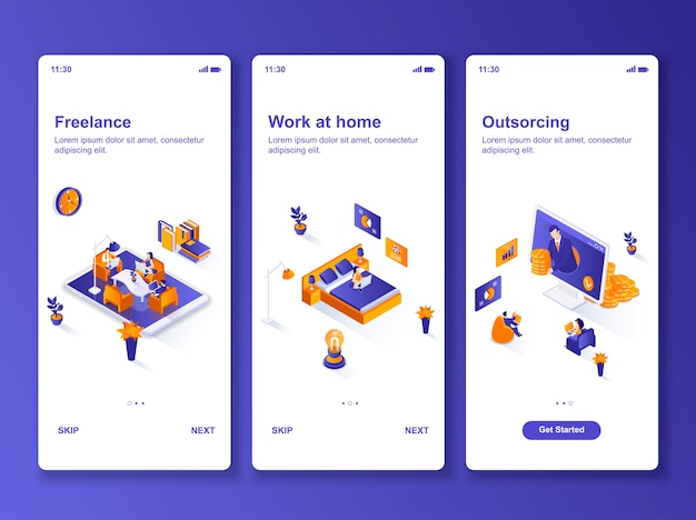 Set of applications work at home isometric