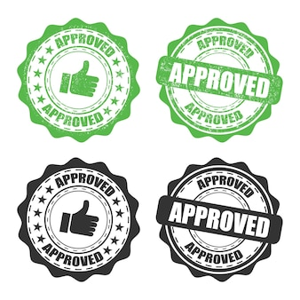 Set of approved rubber stamp on a transparent background