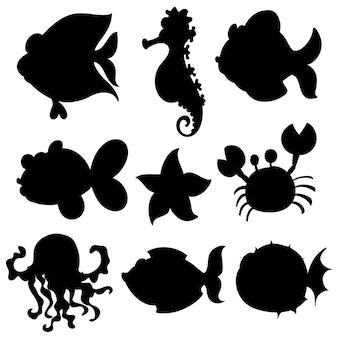 Set di animali acquatici in nero