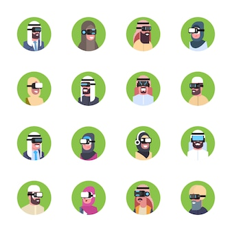 Set of arab business people wearing modern 3d glasses icons virtual reality headset concept