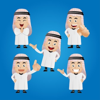 Set of arab business people with different poses