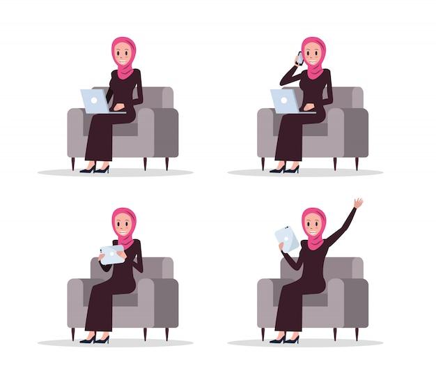 Set of arab business woman using smart device on sofa