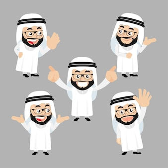 Set of arab characters in different poses