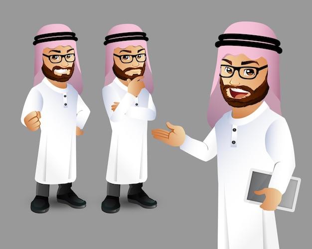 Set of arab man characters