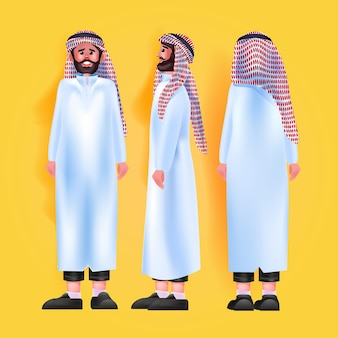 Set arab man in traditional clothes male cartoon character standing pose different angles view full length