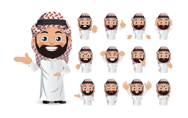Set of arab man with different emotion
