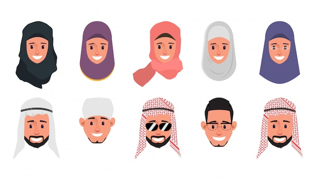 Set of arab,muslim,emirates emotion face character.