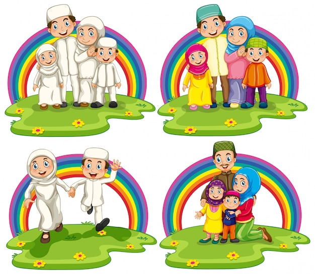 Set of arab muslim families in traditional clothing isolated on rainbow background