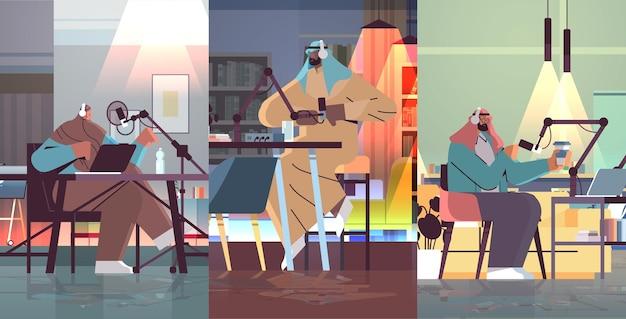 Набор арабских подкастеров, говорящих в микрофоны, запись видеоблога в студии, подкастинг, онлайн-радиовещание, прямая трансляция, концепция, полная длина, горизонтальная векторная иллюстрация