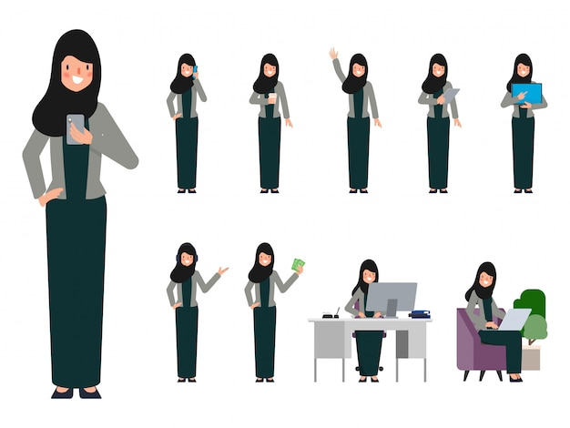 Set of arab uae woman in different pose.