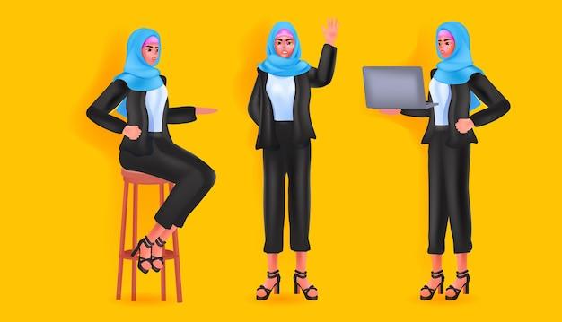 머리 스카프에 아랍 여자를 설정 다른 각도에서 아랍어 사업가 여성 만화 캐릭터 전체 길이 수평 벡터 일러스트를 볼