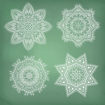 Set of arabesques, lace ethnic ornament in a circle.