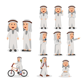 Set of arabian kid vector cartoon illustration