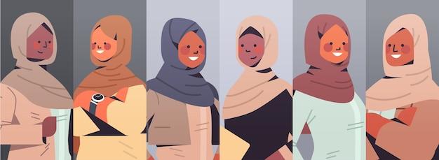 セットアラビア語ビジネスウーマンアバターコレクション女性のチームコンセプト成功したアラブビジネスマングループイラスト