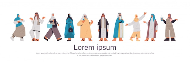 Set arabic people in traditional clothes arab men women standing pose male female cartoon characters collection full length horizontal copy space illustration