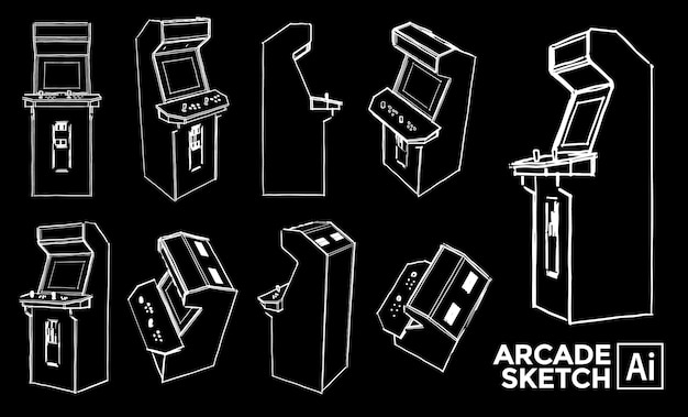 Set of arcade machine views. marker effect drawings. editable color.